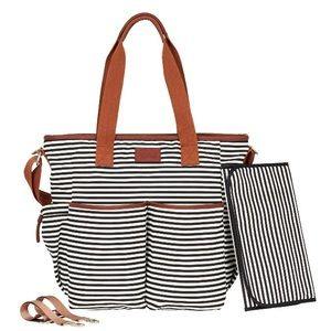Hip Cub diaper bag black & white stripes